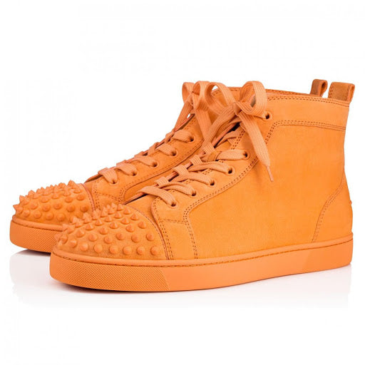 Christian Louboutin Lou Spikes Flat Mens Suede Sneakers in Capucine