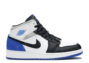 Nike Air Jordan 1 Mid SE White Black Royal (GS)