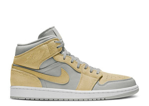 Nike Air Jordan 1 Mid 'Mixed Textures Grey Fog Lemon'