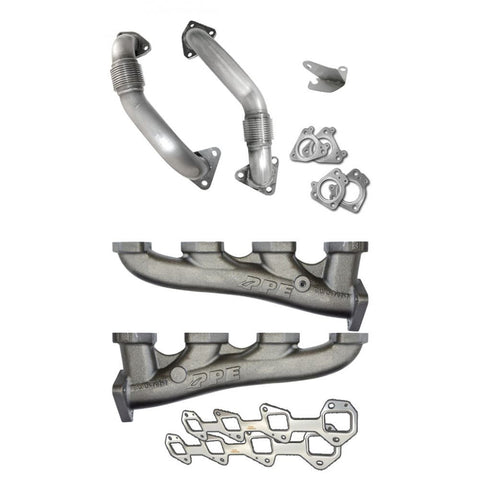PPE High-Flow Race Exhaust Manifolds with Up-Pipes for 2001-2016 Duramax