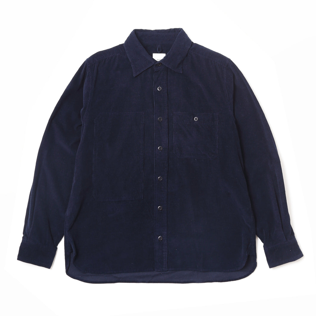ASYMMETRIC POCKET WORK SHIRT - Navy