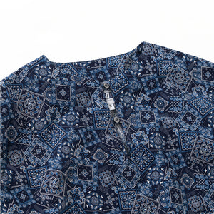 LONG TUNIC - Navy Bandana Print