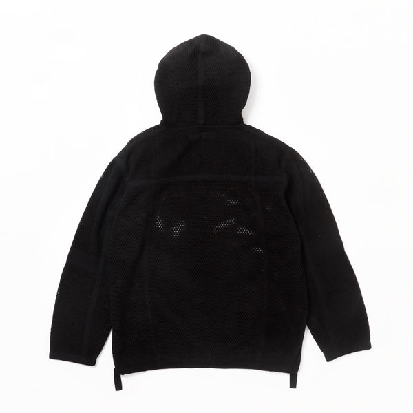 SCRIM NET OVERSIZED PARKA-COTTON MESH - Black