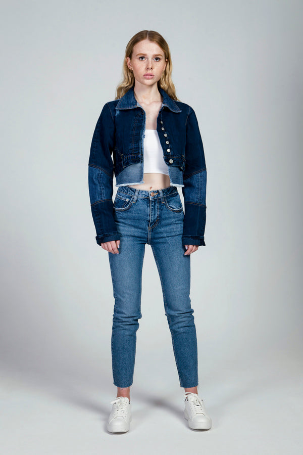 Dark Blue Cropped Jacket