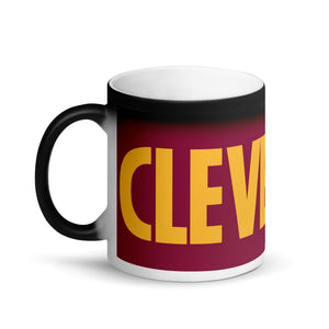 Cleveland Wine and Gold Matte Black Magic Mug
