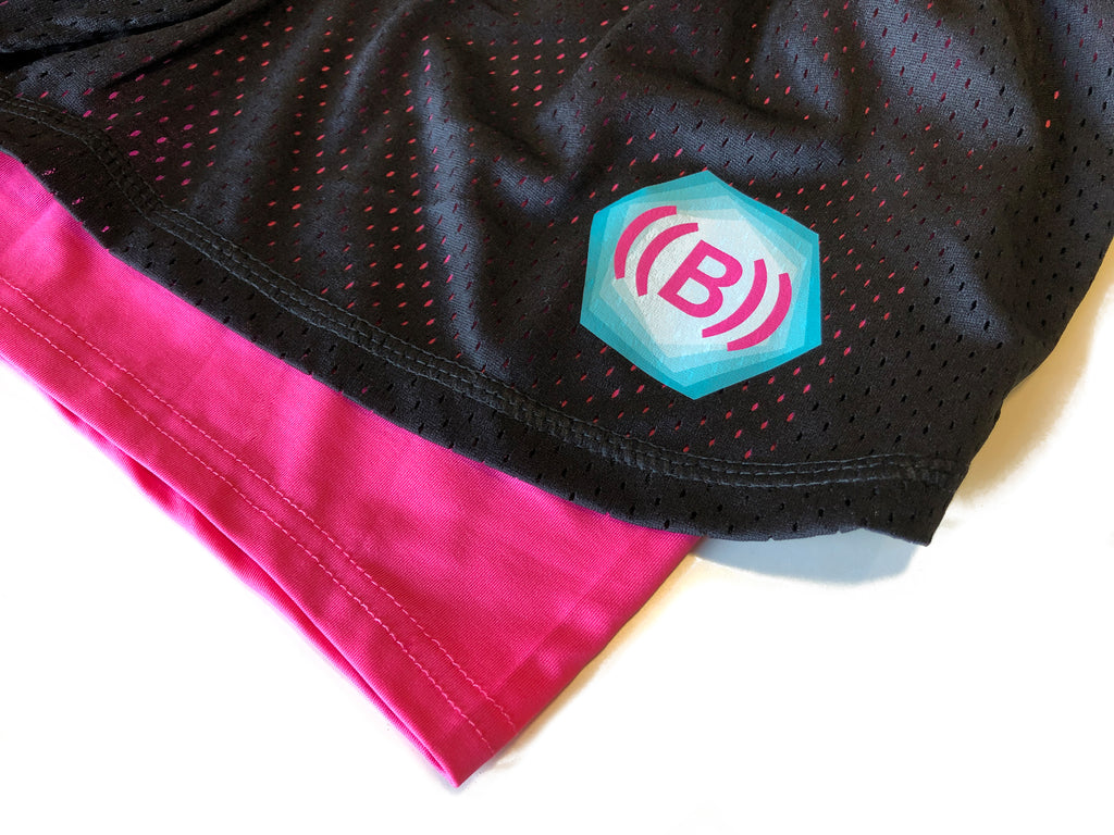 ((B)) Women's Shorts | Black/ Pink