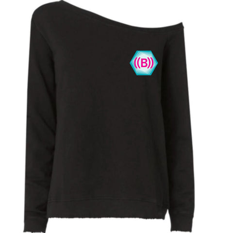 ((B)) Ladies Off the Shoulder Sweatshirt  | Black / Icon logo