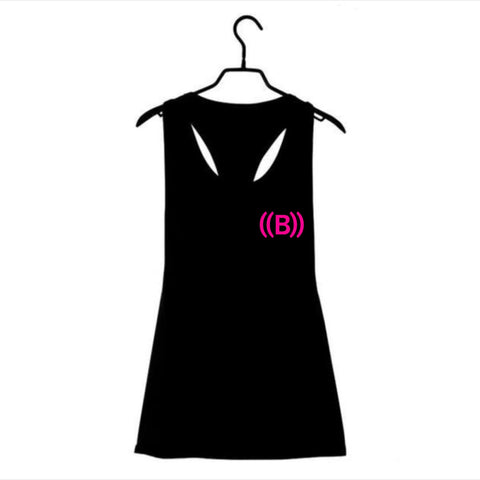 ((B)) Ladies loose sports vest | Black/ Pink