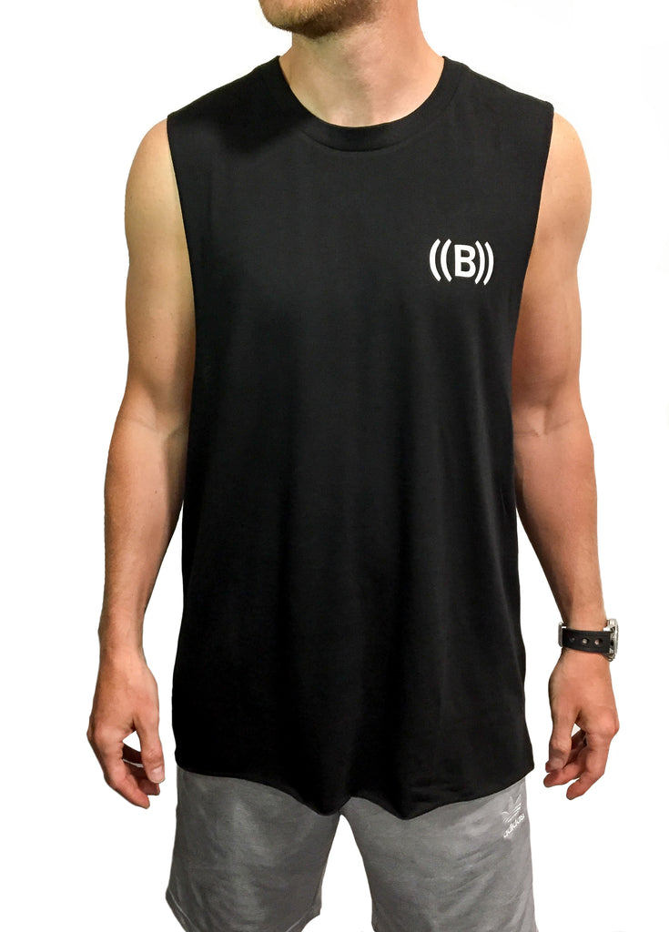 ((B)) Mens high neck vest | Black/ White