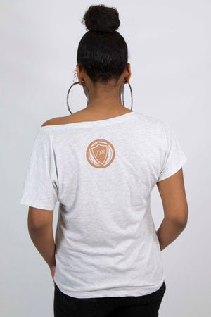 Women's CHOSEN Off Shoulder Tee (Heather White Color)