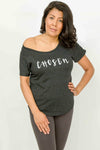 Women's CHOSEN Off Shoulder Tee (Vintage Black Color)