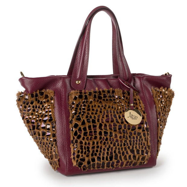 Dollaro Tote in Leather with Details in Velvet or Faux (Fulvia)