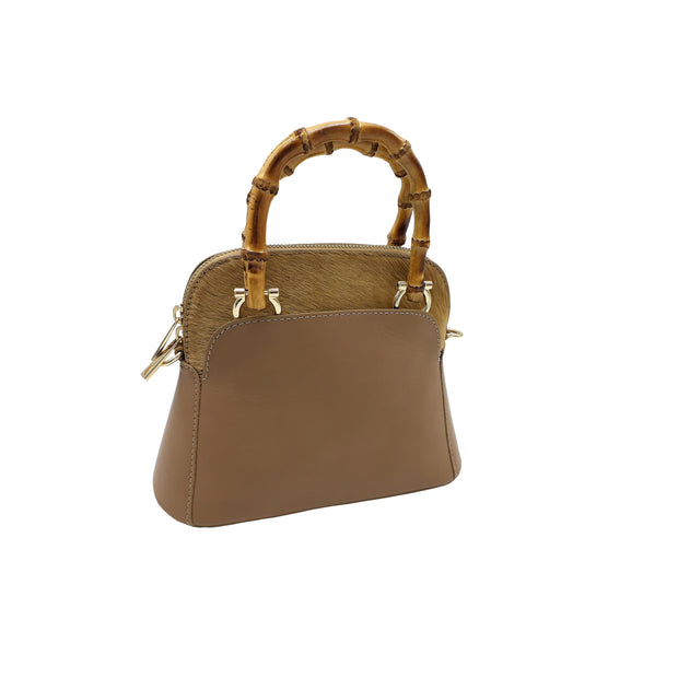 Small Bag in Leather with Bamboo Handles (B140 bamboo)