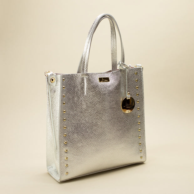 Small Laminated Leather Shopper with Studs