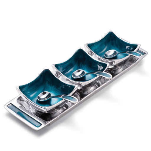 Turquoise Recycled Aluminium Dip Bowls on Tray