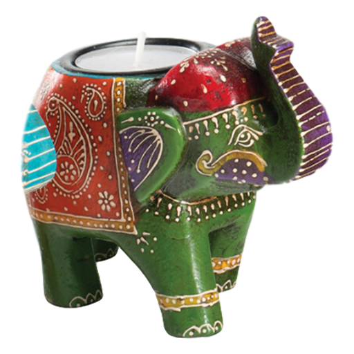 Green Wooden Elephant Tealight Holder