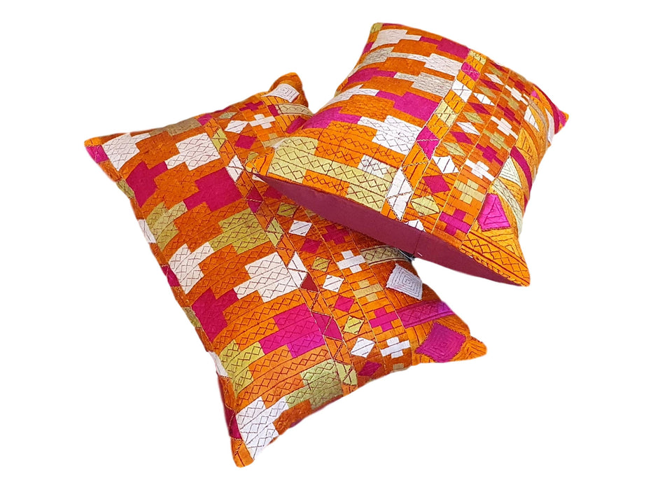 Set of Two Coordinating Phulkari Lumber Cushion Covers