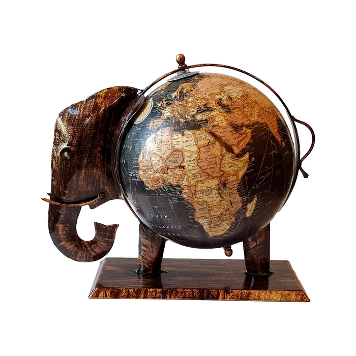 Handmade Black Elephant Globe Fair Trade from India