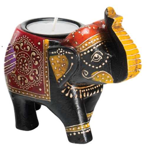 Black Wooden Elephant Tealight Holder