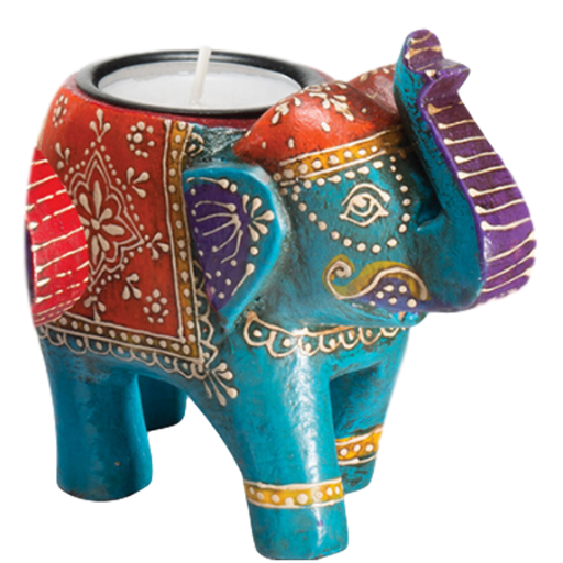 Turquoise Wooden Elephant Tealight Holder