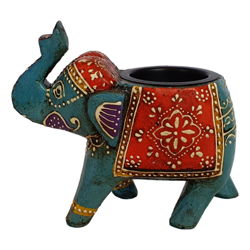 Blue Wooden Elephant Tealight Holder