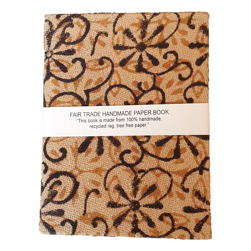 Handmade Recycled Paper Notebook with Hand Loom Block Printed Cotton Cover