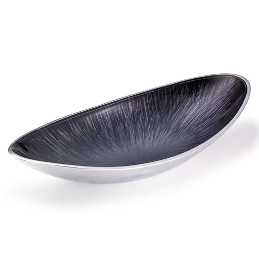 Recycled Aluminium Oval Bowl with Grey Enamel