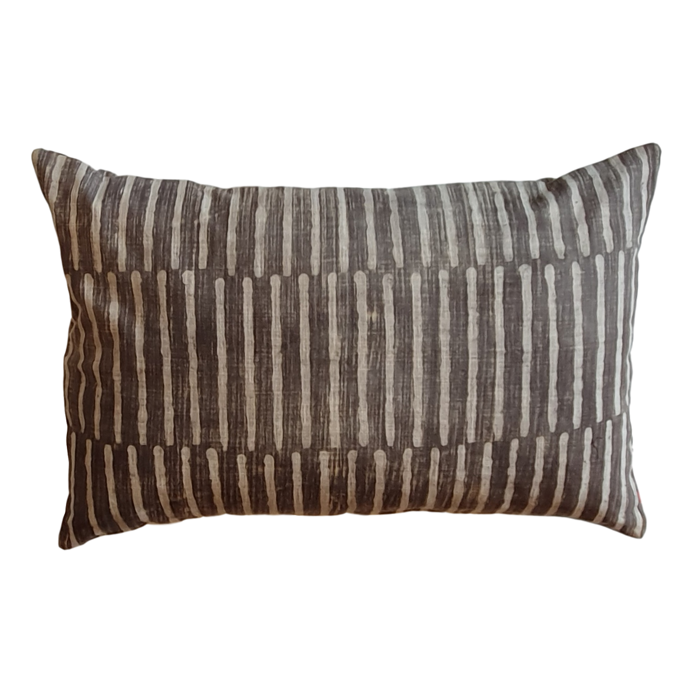 Grey Stripes Block Printed Cotton Lumber Cushion