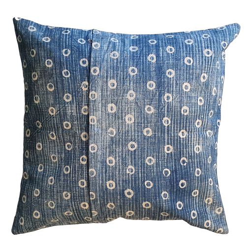 Blue Spots Block Printed Cotton Cushion