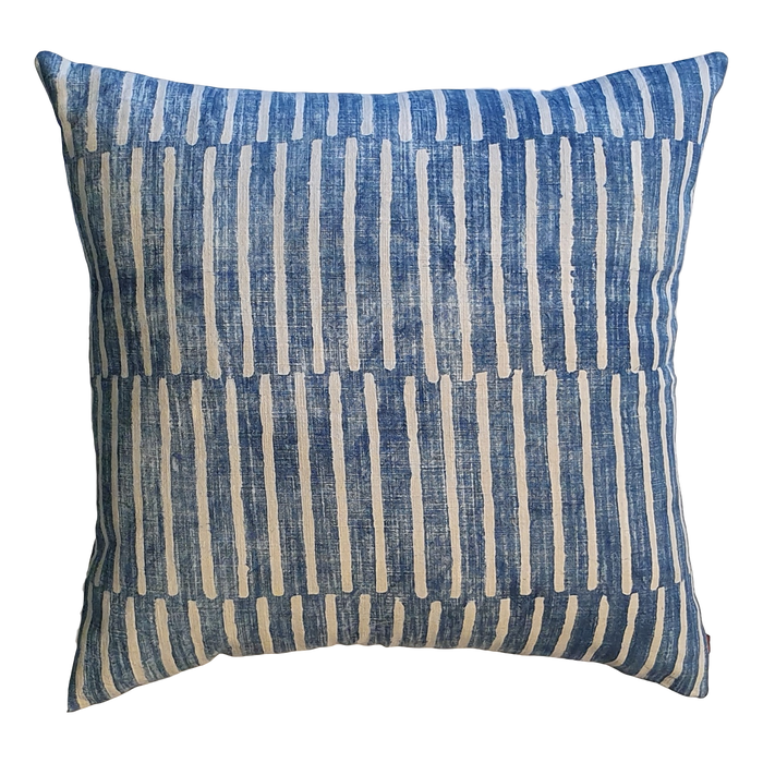 Blue Stripes Block Printed Cotton Cushion