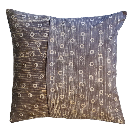 Grey Spots Block Printed Cotton Cushion