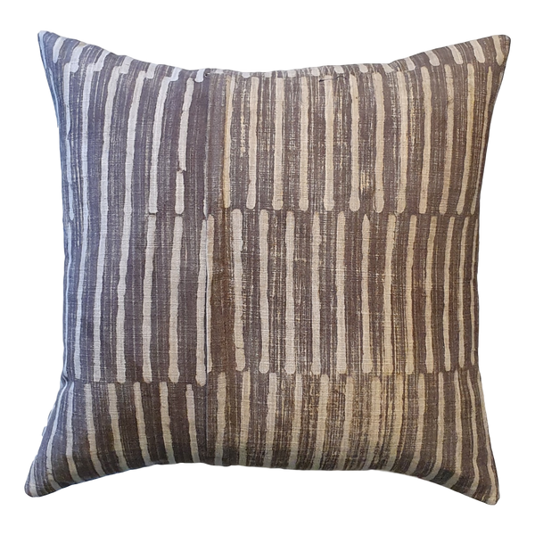 Grey Stripes Block Printed Cotton Cushion