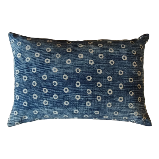 Blue Spots Block Printed Cotton Lumber Cushion