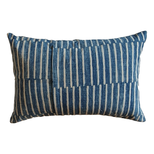 Blue Stripes Block Printed Cotton Lumber Cushion