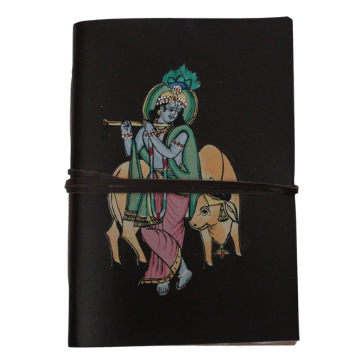 Krishna Leather-Bound Journal With Recycled Handmade Paper
