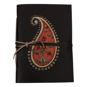 Paisley Leather-Bound Journal With Recycled Handmade Paper