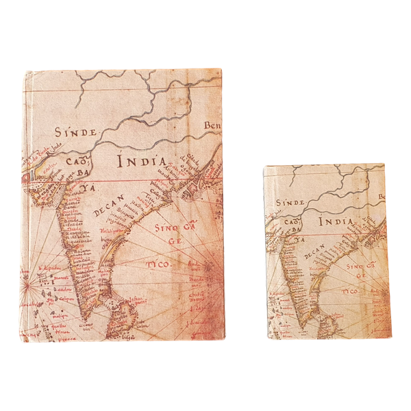 Old Map Of India Hardback Handmade Recycled Paper Notebook