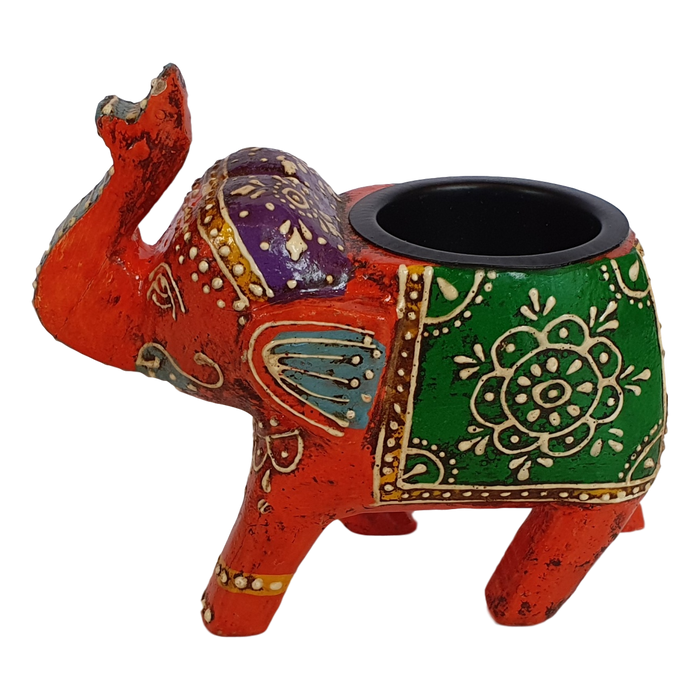 Orange Wooden Elephant Tealight Holder