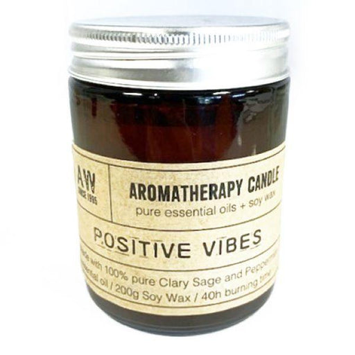 Positive Vibes Aromatherapy Candle with Clary Sage and Peppermint Essential Oils