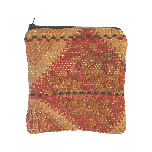 Cotton Kantha Zipped Pouch