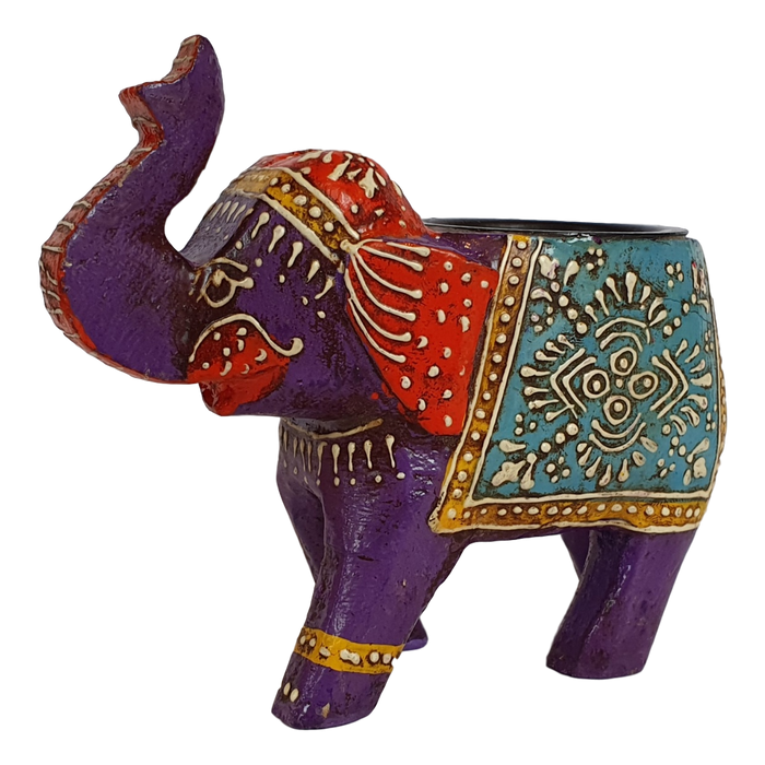 Purple Wooden Elephant Tealight Holder