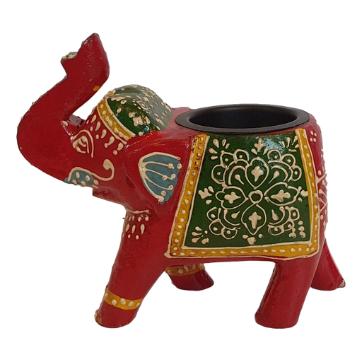 Red Wooden Elephant Tealight Holder