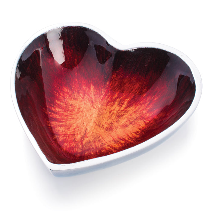 Small Recycled Aluminium Red Heart Dish