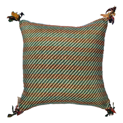 Silk Kantha Cushion Cover With Tassels