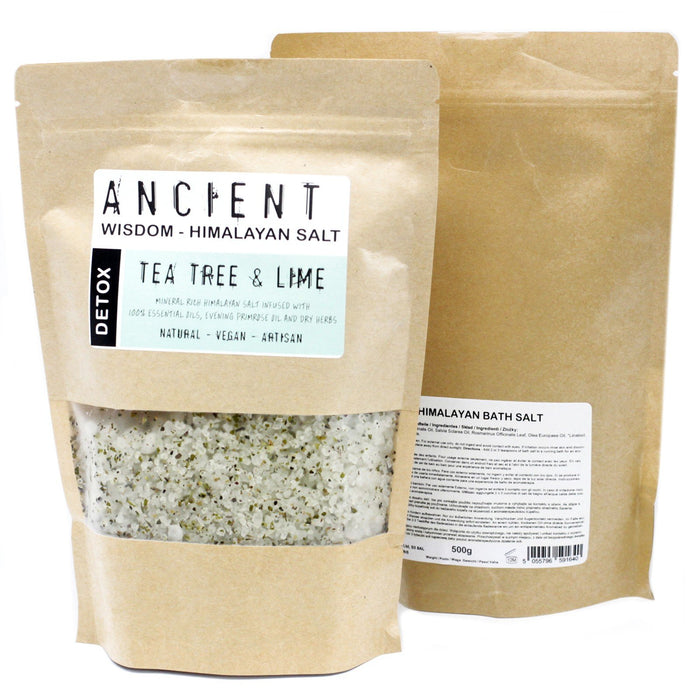 Himalayan Bath Salt infused with Tea Tree & Lime Essential Oils + Evening Primrose Oil - Detox