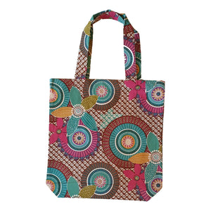 Screen Printed Turquoise and Pink Tote Bag with Gusset