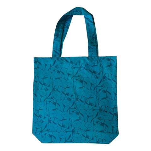 Screen Printed Turquoise Tote Bag with Gusset