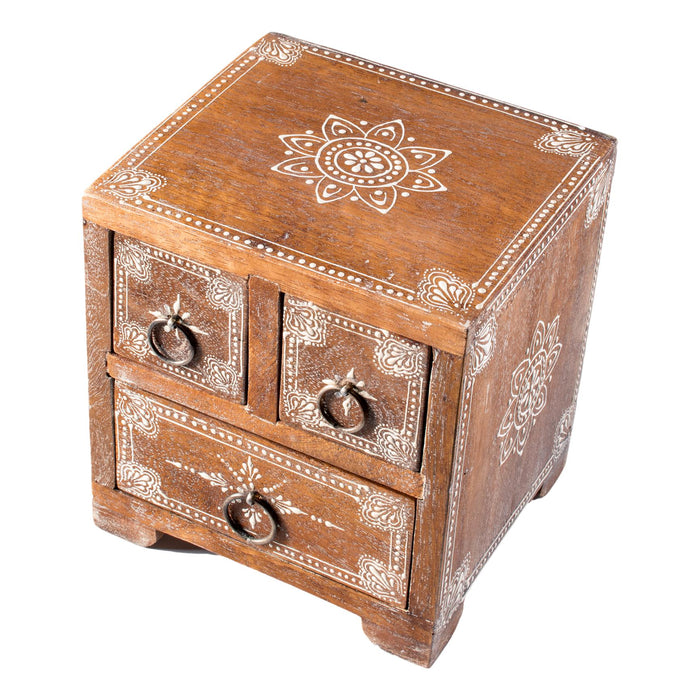 Wooden Jewellery Box with Three Drawers