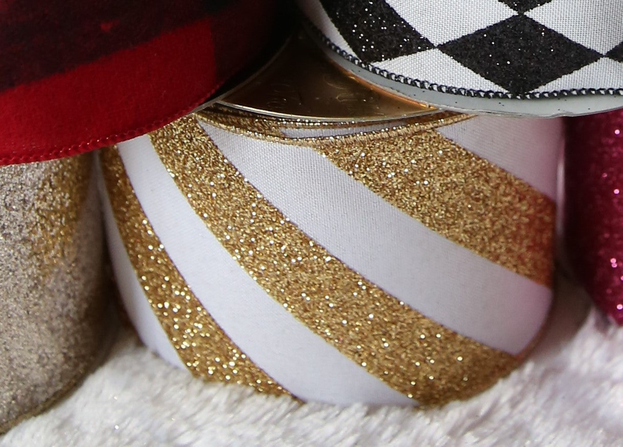 Gold & White Glittered Stripe Ribbon