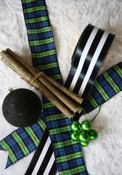 Green Blue Plaid Ribbon